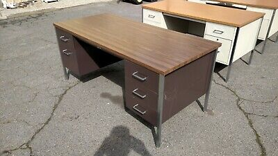 Vintage Steelcase Desk 30 X 65 Double Pedestal Metal We Deliver Locally Norcal