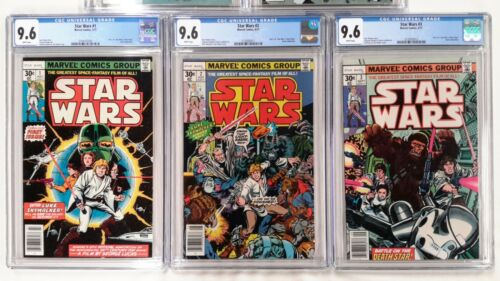 🔥STAR WARS #1 2 3 4 5 CGC 9.6 SET**MARVEL**1ST PRINTS**WHITE PAGES**NEW CASES**