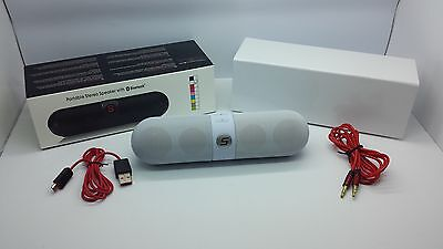 NEW BLUETOOTH SMOOTH PORTABLE STEREO SPEAKER WIRELESS UNIVERSAL WHITE