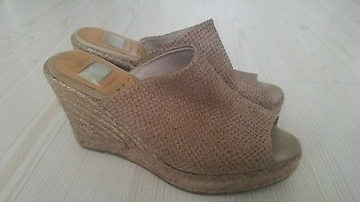 KANNA Taupe Snake Print Leather Espadrille Wedge Sandals Sz 38 Made in Spain  ()