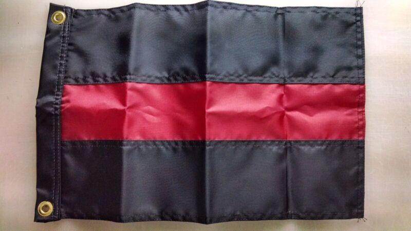 Red Line Coffin Flag