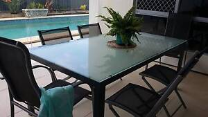 Table with 6 chairs  -  Glass with metal base table. Buddina Maroochydore Area Preview