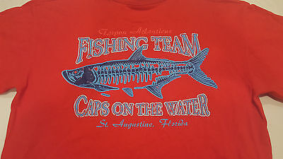 Mens L Fishing Team  Caps On The Water  Tarpon Atlanticus St Augustine  Fl Red