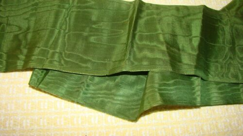 "ANTIQUE VICTORIAN 19TH C SILK RIBBON TRIM  OLIVE GREEN 3 1/2"" BY 56"""