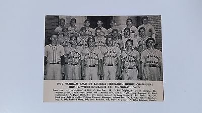 Thos  E  Wood Insurance Company Cincinnati Ohio 1949 Baseball Team Picture