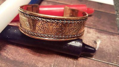 Triple PENTAGRAM BRACELET WICCA Pagan Witchcraft Pentacle - $19.99