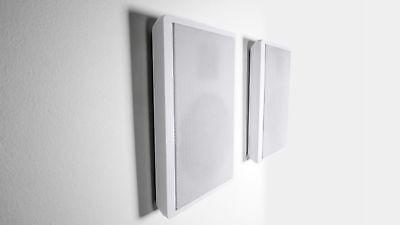 "2 Rockville RockSlim White Home Theater 5.25"" 240w Easy Wall Mount Slim Speakers"