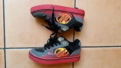 GENUINE worn twice Heelys Motion Plus shoes skates Grey Black Flame size UK 3