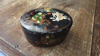 Vintage Oriental Papier-mâché oval box with painted horse men