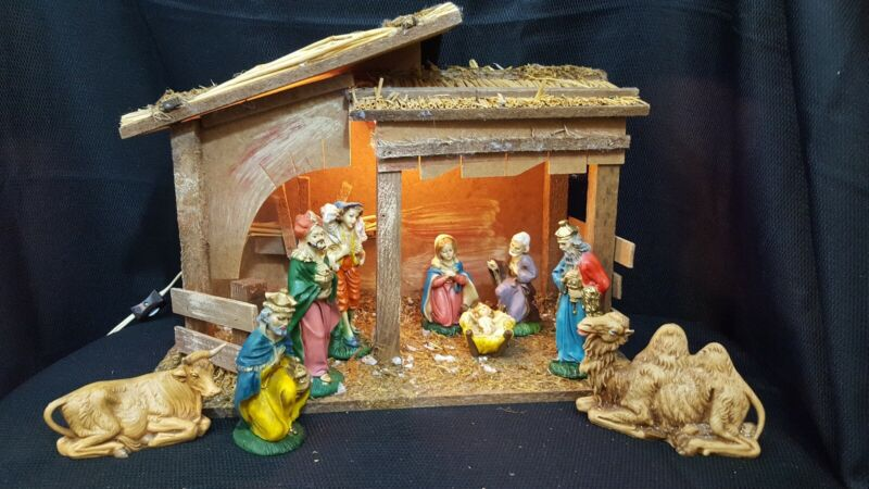 Vintage Sears Nativity Set Complete with Extras, Chalkware, Italy