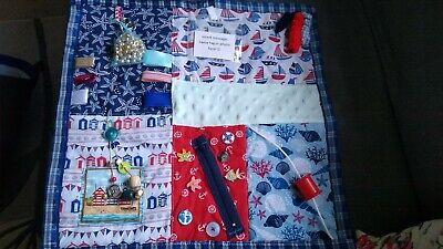Fidget fun sensory activity blanket quilt NAUTICAL SEASIDE BEACH fabrics