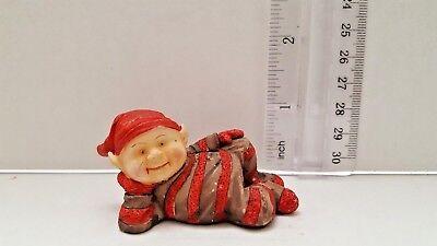 Vintage Ceramic Christmas Red Elf Figurine Figure Laying on Side Shelf Mantle