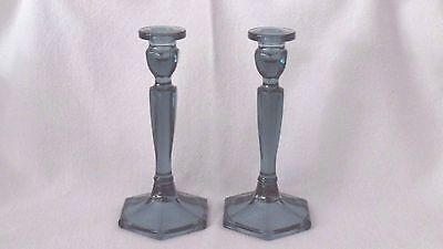 Fenton Colonial Candlestick Holders Federal Blue Glass Marked - Pair