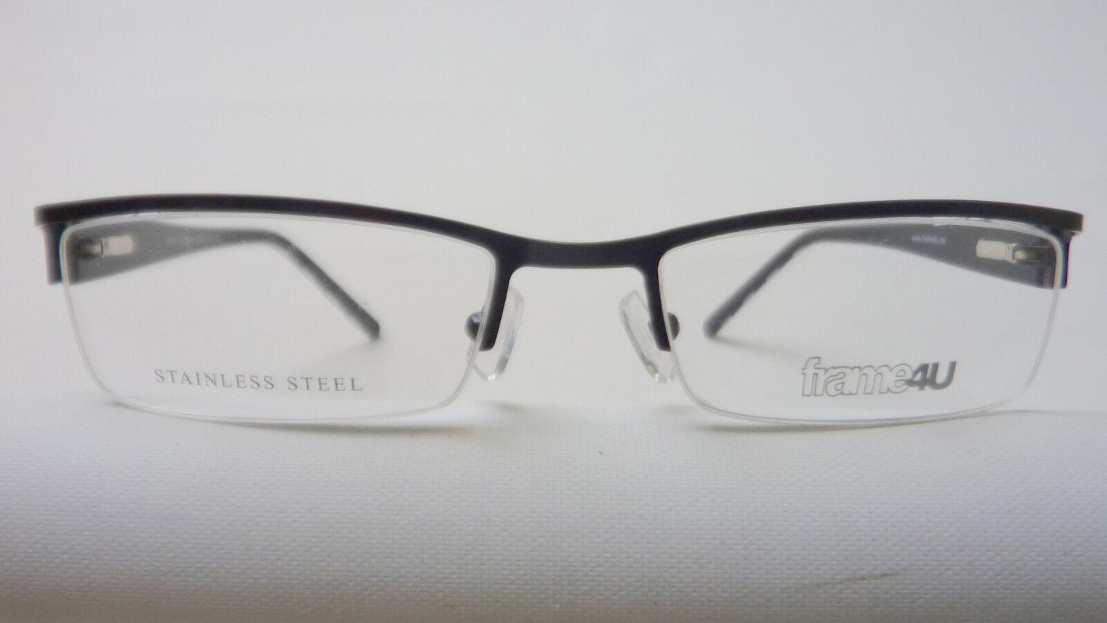 ZEBRA günstige Brillengestelle schmal halbrandlos schwarz stabil Gr. M 52[]18