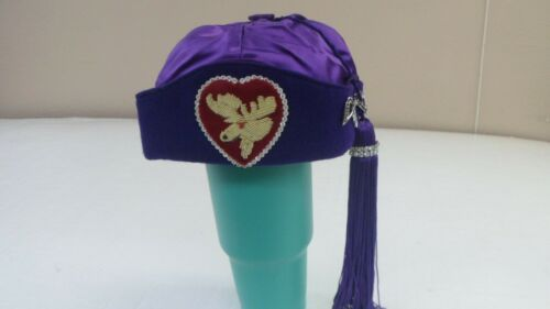 Vintage Purple Royal Order of Moose Lodge Ceremonial  Hat with purple tassel
