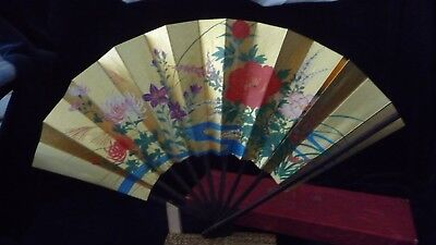 #722 vtg Hand held  Decorated  PAPER  Asain  OHGI FAN w - Hand Held Paper Fans