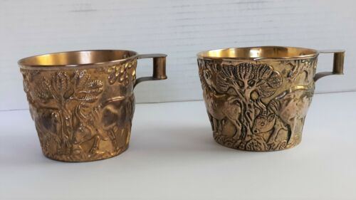 Vaphio Style Ilia Lalaounis Greek Chased Silver Gilt Cups - a Pair