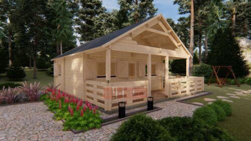 Gustav J68A 19 ft. 6 in x 19 ft. 6 in multi room log cabin style building kit