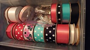 Various lengths of Ribbon and Hair Clips