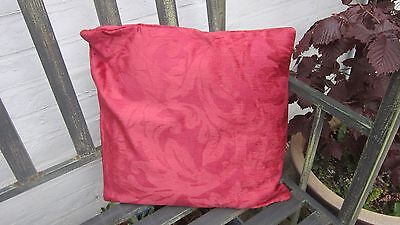 Cushion cover in heavy red silky damask  fabric 16 inch square (Silky Red Cushion Cover)