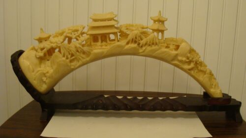 """Unique Ivory Colored Resin/Plastic Chinese Village Horn Shaped With Stand 19"""" L"""