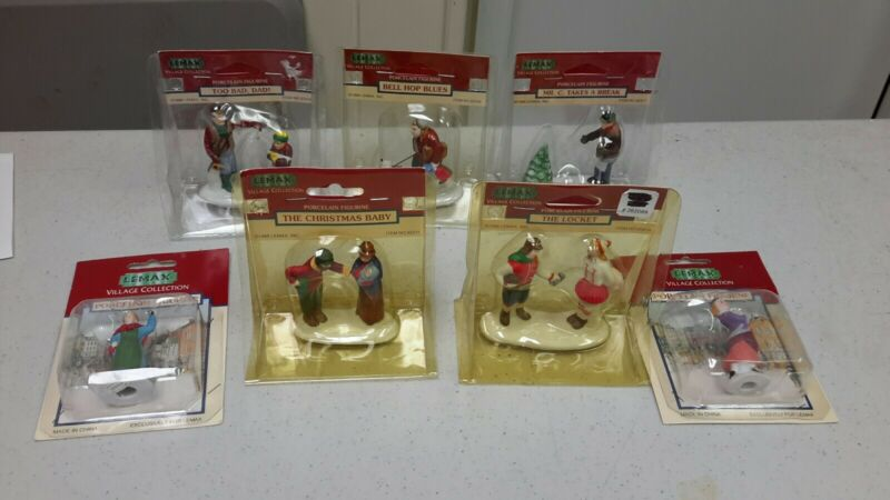 7 LeMax Village Collection Porcelain Figurines in Box