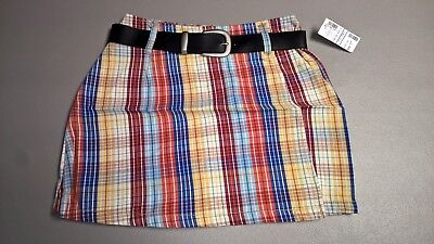 Forewarned Cotton Plaid Orange Red Blue Golf Wrap Skort Skirt Shorts W/Belt 4-14 (Cotton Plaid Belt)