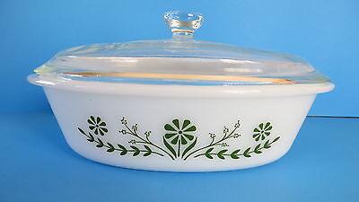 Vintage Glasback Ovenware Primrose Dream Green Floral Oval Casseral  1 Qt w Lid