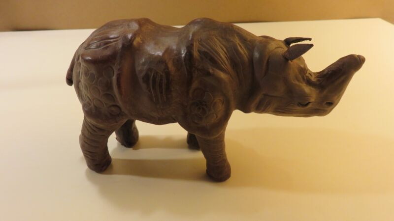 Vintage Leather Wrapped Brown Rhinoceros With Glass Eyes