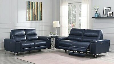 TOP GRAIN BLUE LEATHER MATCH POWER RECLINING SOFA LOVESEAT LIVING ROOM