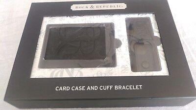 NWT Rock & Republic card case & Leather Cuff Bracelet 2 pc set