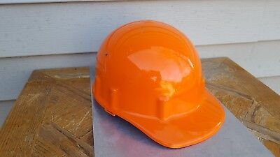 Vintage Apex Orange Plastic Union Made Hard Hat With Linner Made In Usa