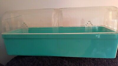 "Vintage Art Deco Bread Box 1 Loaf Turquoise w/ Clear Lid 1940s 12"" X 5"" X 5"""
