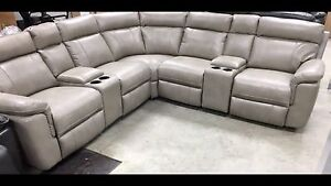 Brand new 7 Pce Pewter Sectional with 2 glider recliners/4USB