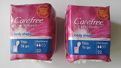 Thin Pantiliners - 2 Pack Carefree - Acti-Fresh Thin To Go Unscented Pantiliners 22 Pads per pack