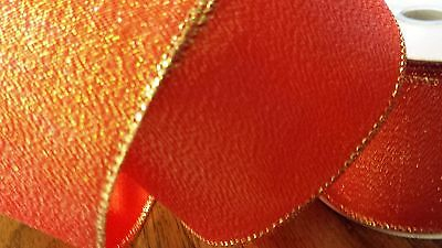 RED/GOLD WIRED CRAFT RIBBON 10 YARDS 2.5 INCHES WIDE  BOWS RIBBON
