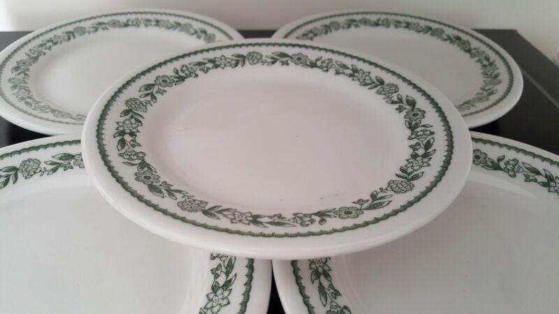 FIVE (5) Buffalo China Bread Plates Kenmore Green Floral Garland USA