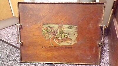 Celticraft Ireland Oak Wood Serving Tray Burnt Wood Painted Castle Wexford C1900
