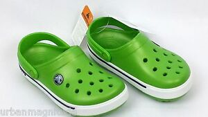 LIME GREEN CROCS NAVY BOYS GIRLS SIZE C12 / C13 KIDS WATER SHOES CROCKS CROCBAND