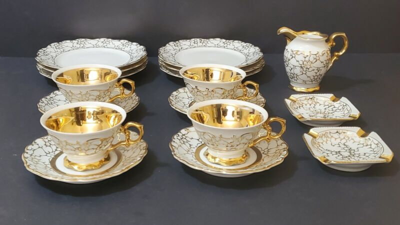 HAUS DRESDEN Germany Gold Plated Trim Vintage 17pc Tea Set