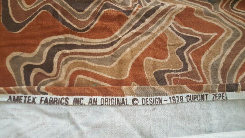 "VTG 1978~3 Yards/ 54"" Wide Ametex Fabrics~Swirl Print~Zepel Finish~Browns~Cotton"
