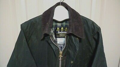 BARBOUR- A200 BORDER WAXED COTTON JACKET-  SAGE- MADE IN ENGLAND- SIZE 38