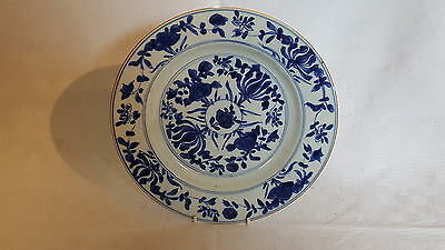 Chinese export vintage pre Victorian oriental antique blue & white wall plate