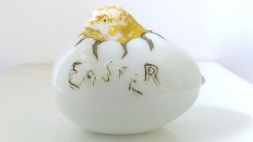 Vintage Milk Glass Cracked Easter Egg Hatching Chick Milkglass