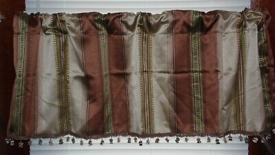 STYLE SELECTIONS STACCATO STRIPE VALANCE WITH BALL FRINGE 50X17 CINNAMON NEW