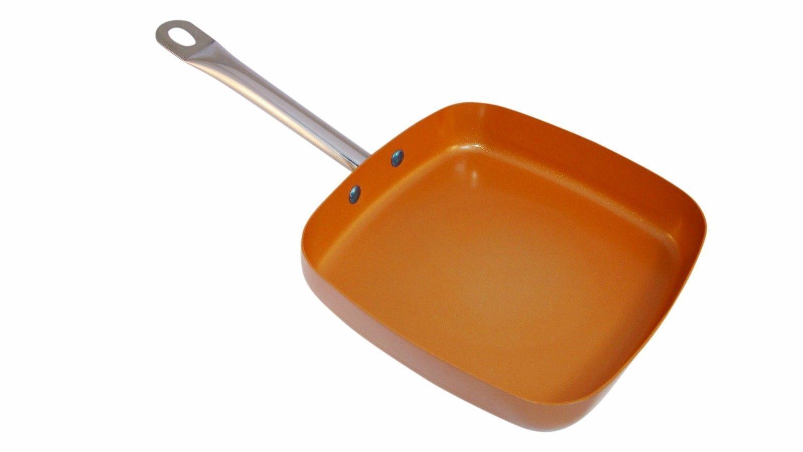 Copper Square Pan XL 12 x 12 x 2 Inch Deep Induction Non Sti