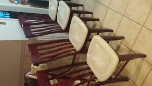 4 Heavy Cherry Chairs with marble type seats