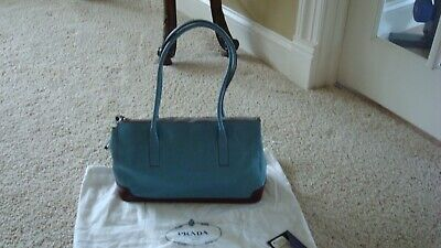 VINTAGE AUTHENTIC PRADA HANDBAG BLUE LEATHER WITH BROWN PATENT BOTTOM