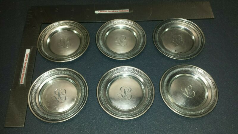 GORHAM STERLING SILVER Coaster Set of 6 Early dates to 1863-1890