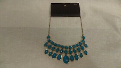 H&M  Chandelier Bib necklace Teal Colored Faceted Stones